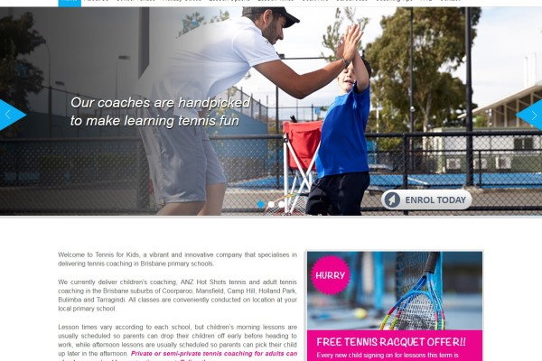 Professional Website for Tennis For Kids Australia