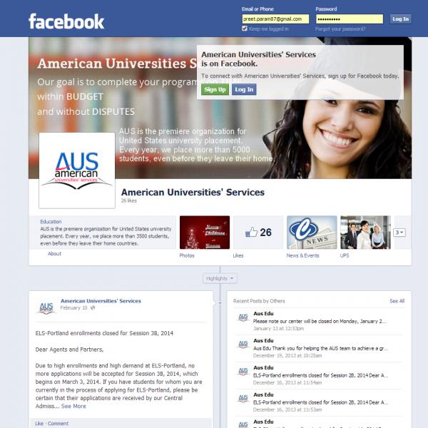 American Universities Services – Facebook Profile Page Development