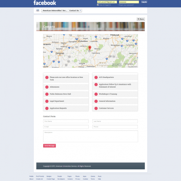 Facebook Dynamic Contact Page Development