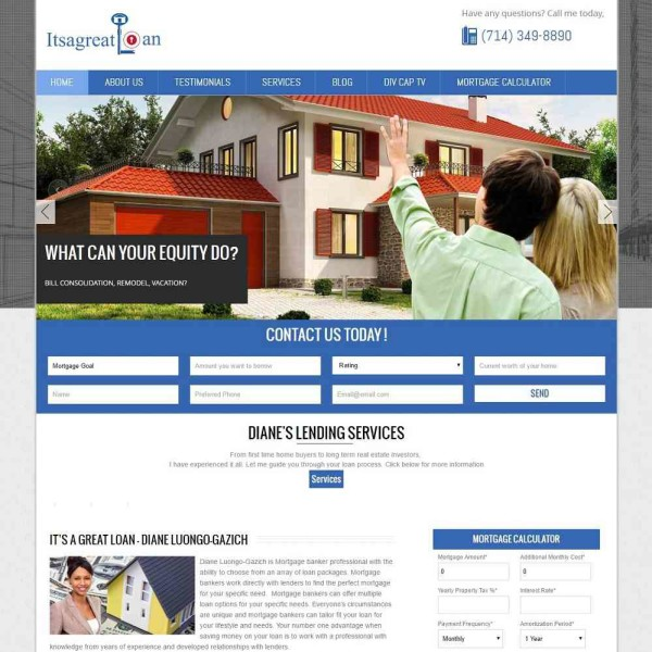 Custom Website and Mortgage Calculator for Its A Great Loan