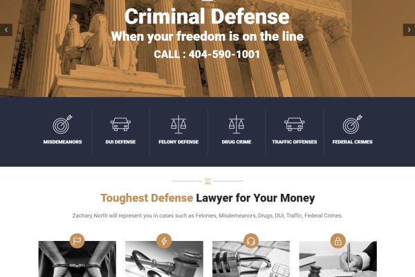 Professional Custom WordPress Website for Zachary North Law Firm