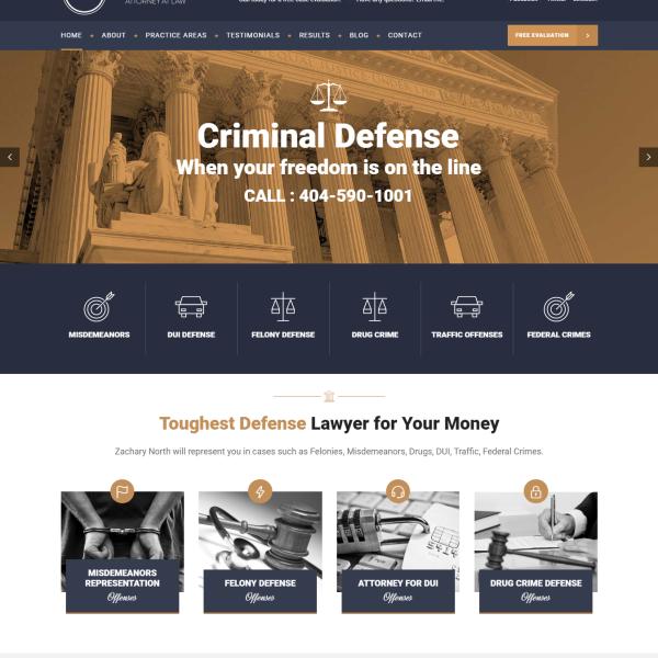 Professional Custom WordPress Website for Zachary North Law Firm